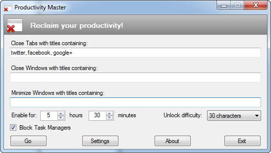 Click to view Productivity Master screenshots